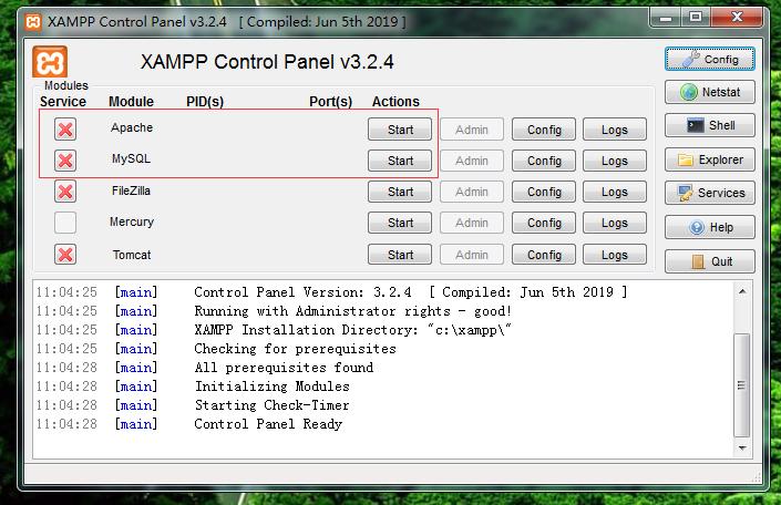 启动Apache和MySQL启动本地服务器