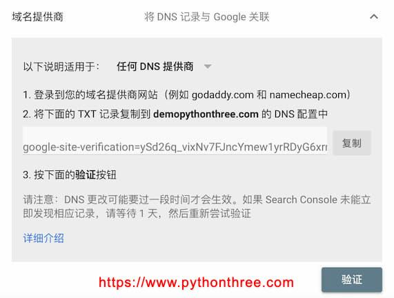 Google search console平台DNS记录验证