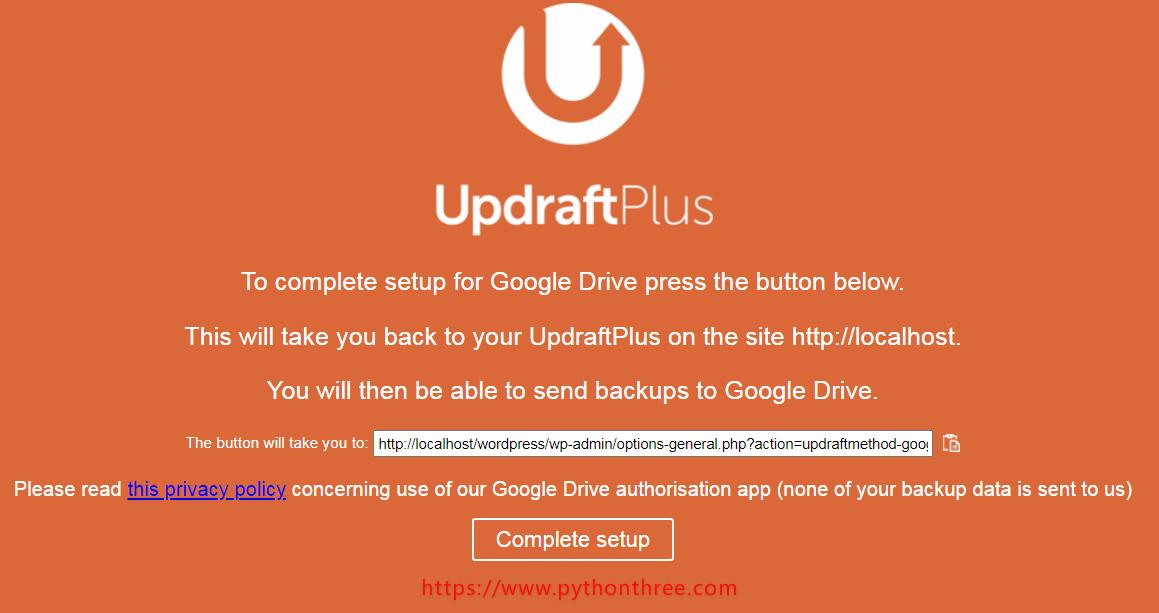 UpdraftPlus备份插件Google drive验证