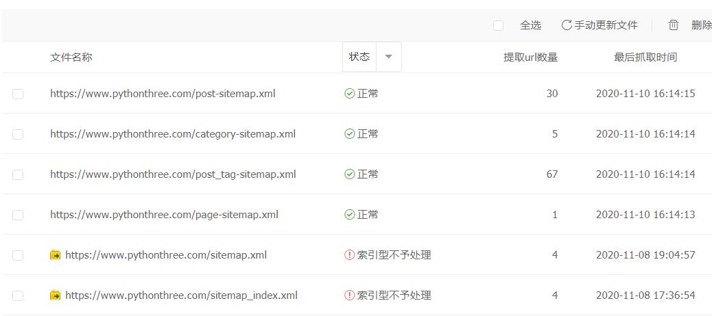 解决sitemap索引型不予处理