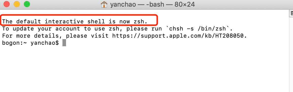 [已解决]MacOS终端提示: The default interactive shell is now zsh