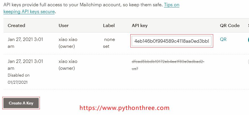 获取MailChimp插件API秘钥