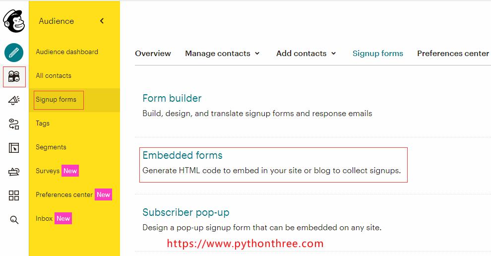 MailChimp插件获取代码