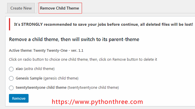 WordPress子主题生成插件Child Themes Generator插件教程