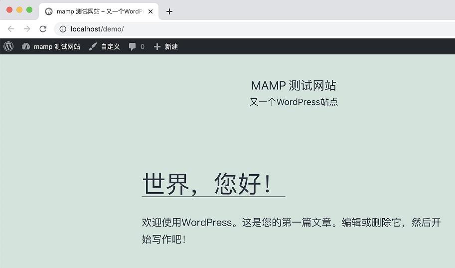 本地安装wordpress效果