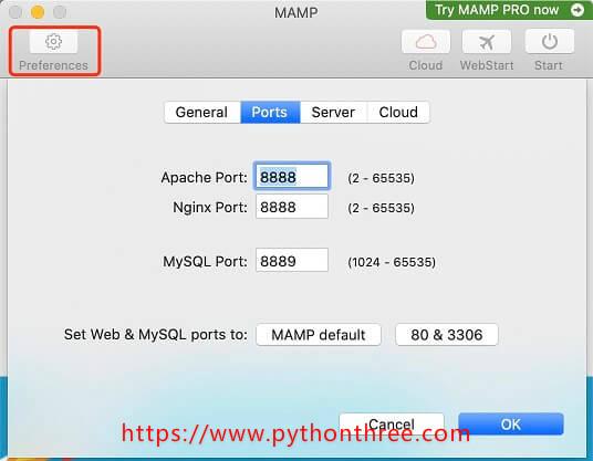 设置MAMP端口