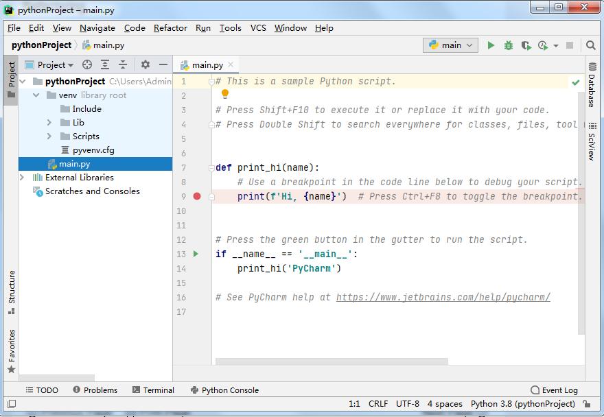 Pycharm IDE界面