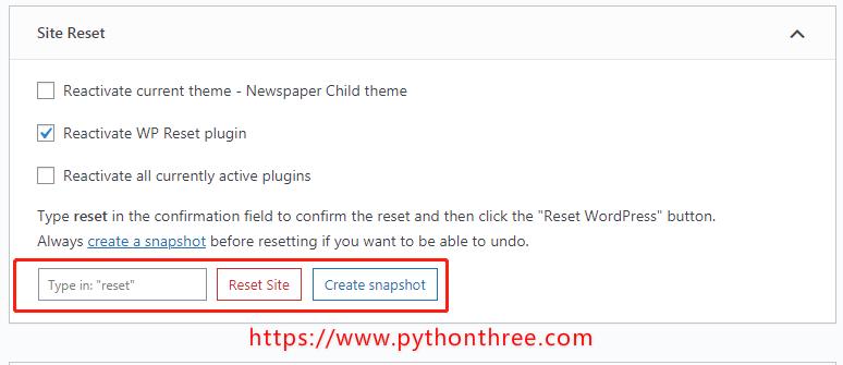 WP Reset 插件重置网站
