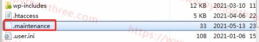 WordPress更新错误 删除..maintenance文件