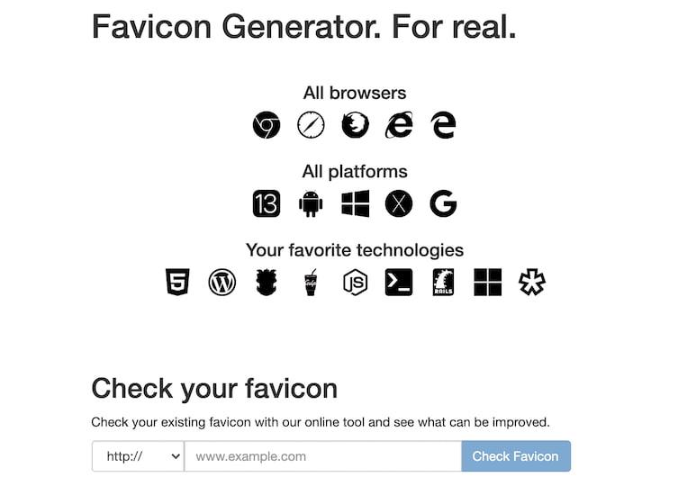 Real Favicon Generator 网站图标生成器