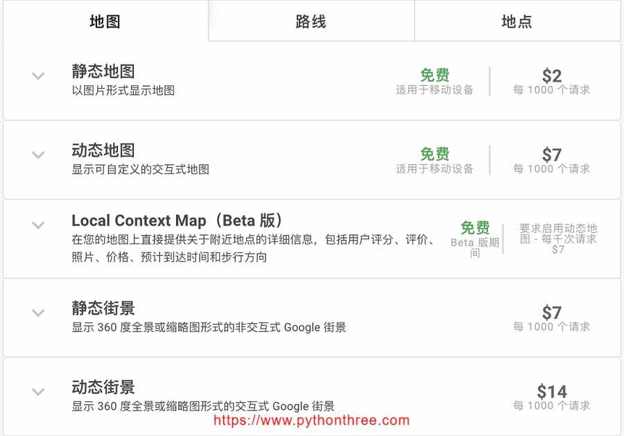 Google Maps API 价格