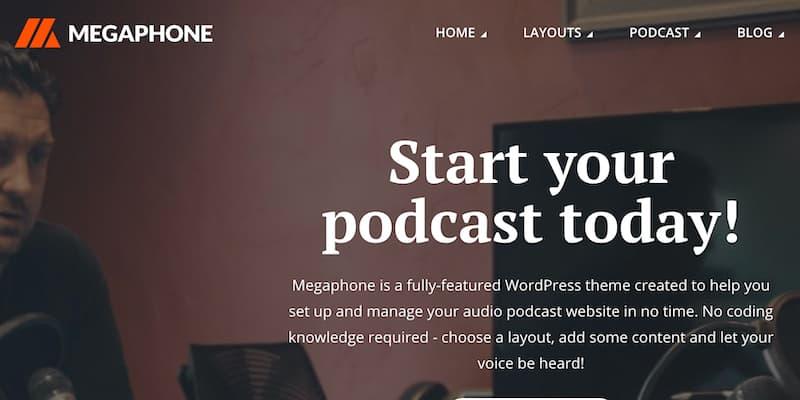 Megaphone WordPress播客主题免费下载