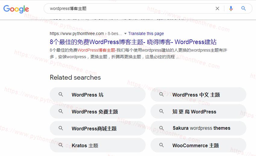 Google搜索结果页面