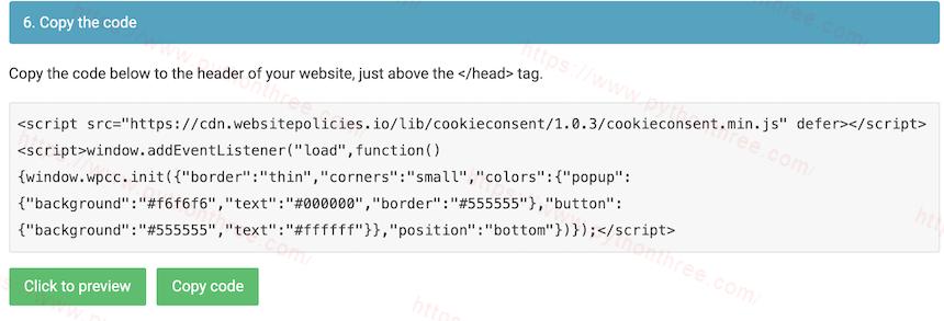 复制WebsitePolicies中的WordPress cookie通知代码