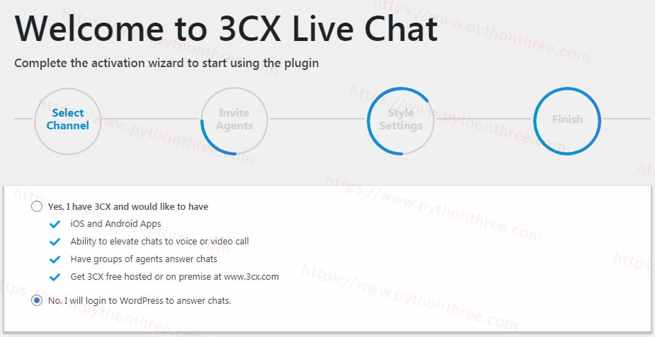 3CX-Live-Chat插件选择登录wordpress聊天