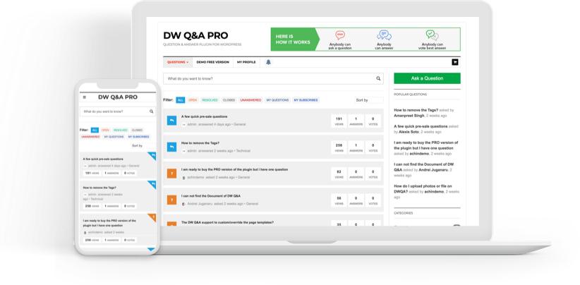 WordPress问答插件免费下载DW Question Answer Pro插件